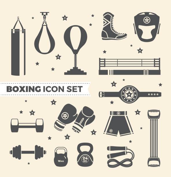 Set of boxing equipment vector monochrome design elements isolated on beige background. Vector Illustration vector art illustration