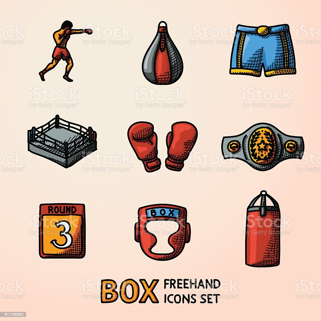 Set of boxing hand drawn color icons - gloves, shorts vector art illustration