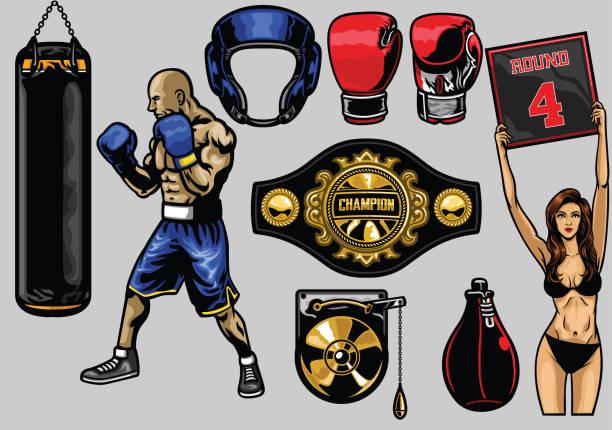 set of boxing vector art illustration