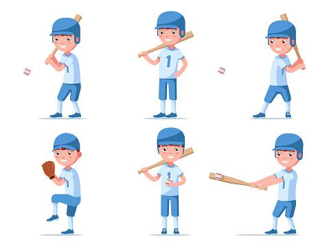 Set of boy baseball player in sports uniform