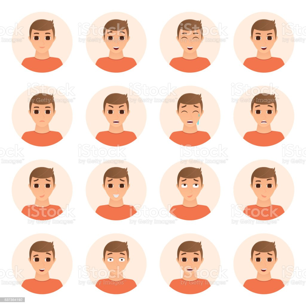 Set of boy emotions icons royalty-free set of boy emotions icons stock vector art & more images of adult