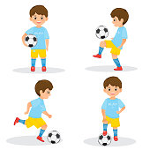 Set of boys soccer players  with a soccer ball