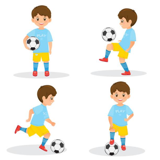 stockillustraties, clipart, cartoons en iconen met set van jongens voetbalspelers met een voetbal - soccer player