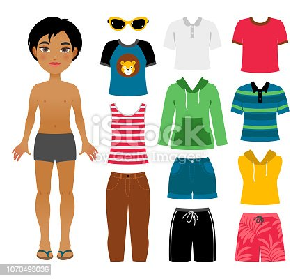 Set of boy's summer clothes isolated on a white background.
