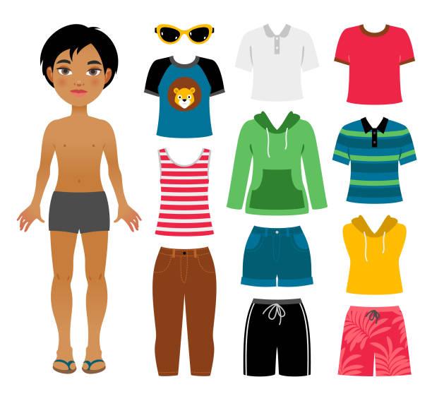 소년의 여름 옷 세트 - 바지 의복 stock illustrations