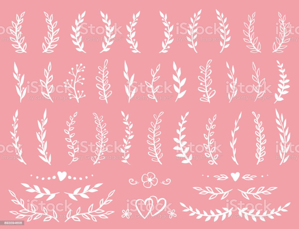 set of branches and wreaths vector art illustration