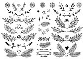 set of hand drawn branches with leaves, snowflakes, flowers, hearts, dividers, borders, style design elements