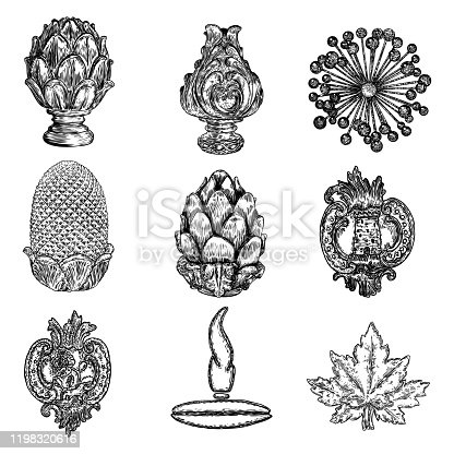 Set of brass or stone finial hand drawing and other decorative elements. Detailed architecture design element. Vector.