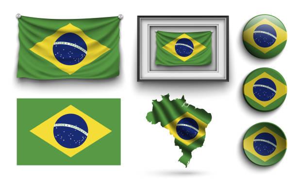 bildbanksillustrationer, clip art samt tecknat material och ikoner med uppsättning brazilia flaggor samling isolerade på vit - brasilien flagga