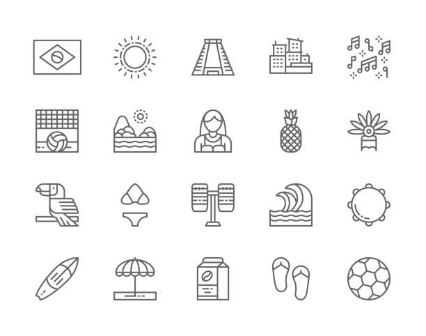 ilustrações de stock, clip art, desenhos animados e ícones de set of brazilian culture line icons. city favelas, tropical fruits, carnival clothes, beach landscape. - rio de janeiro