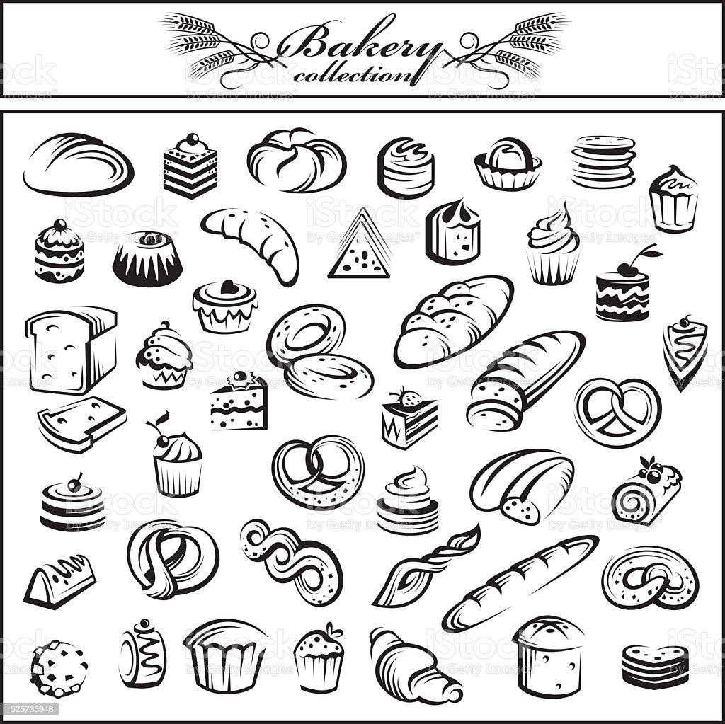 Groupe de pain et de produits de boulangerie - Illustration vectorielle