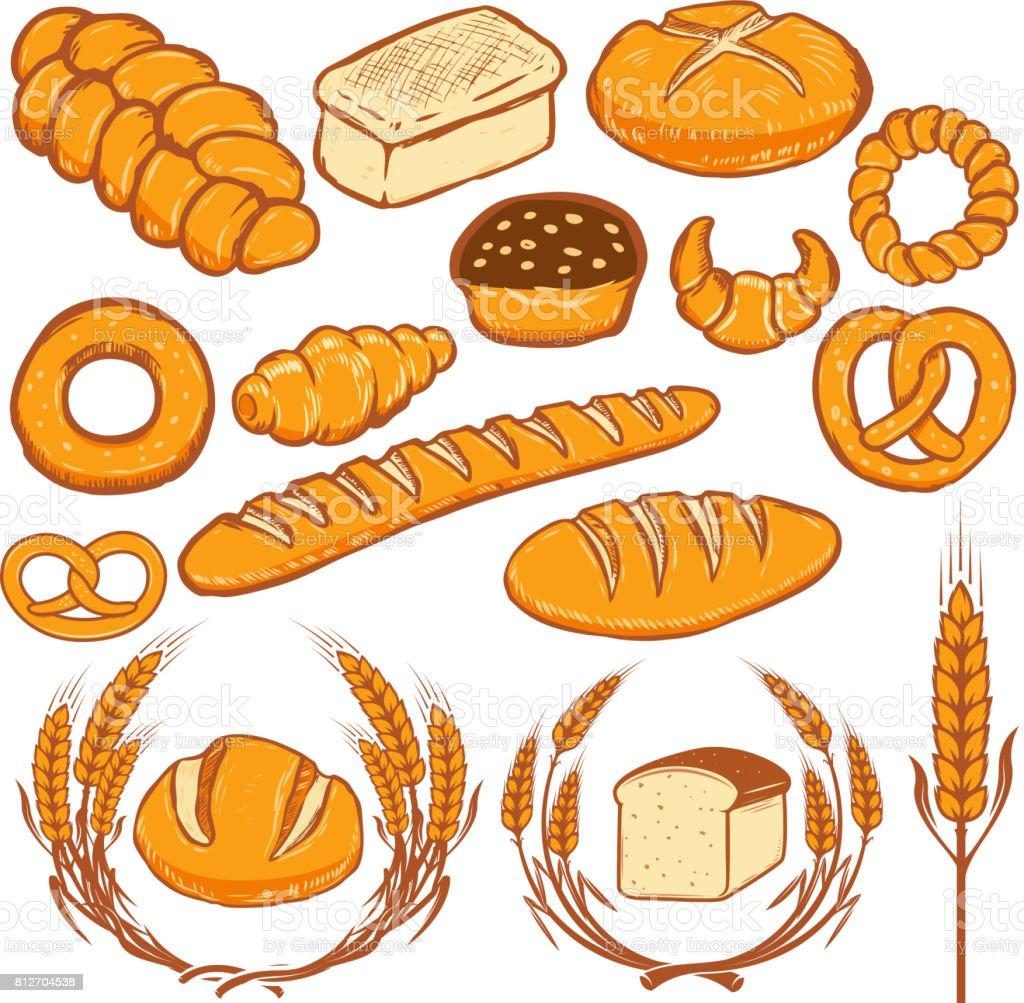 パンのイラストのセットです新鮮なパン屋さんポスターメニューのチラシの