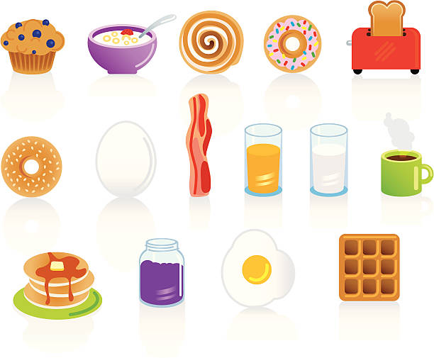 set of breakfast food and drink items - cinnamon roll stock illustrations, clip art, cartoons, & icons