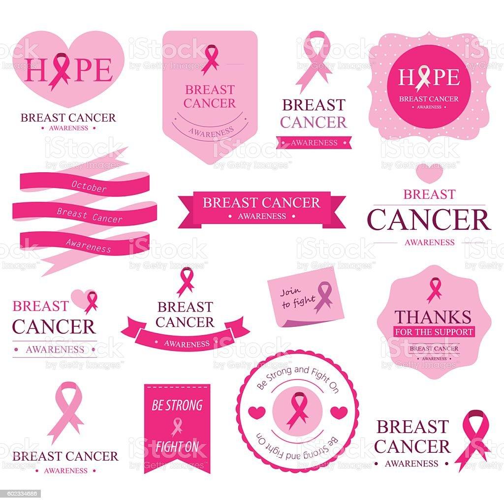 Set of breast cancer label and Badges pink color. vector art illustration