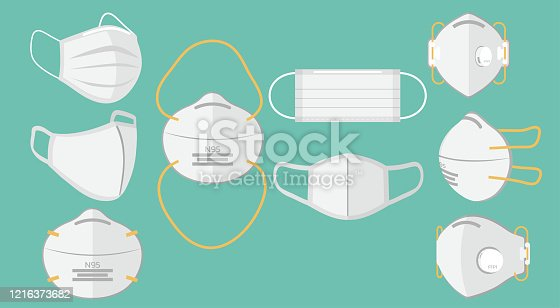 Set of breathing protective medical respiratory ffp1, N95, cloth, surgical masks, dust protection respirator, air pollution, disease, virus prevention, flu protection, vector illustration