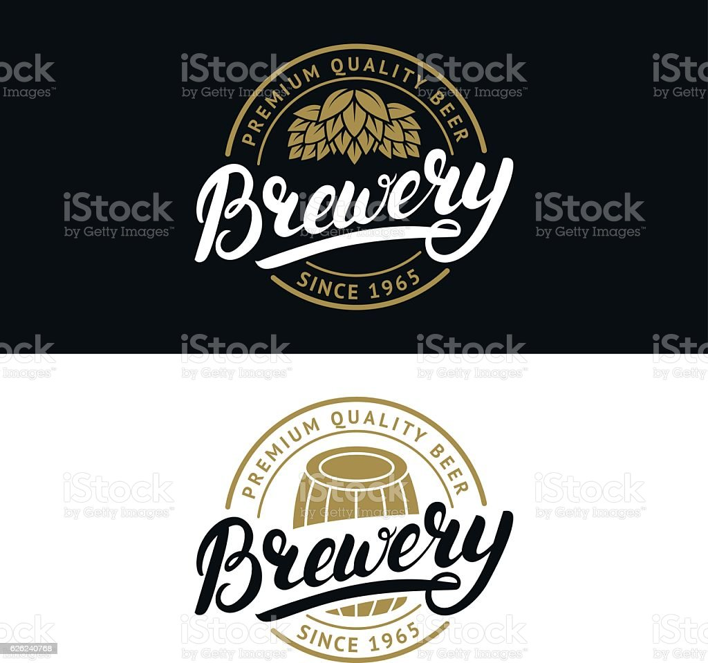 Set of Brewery hand written lettering logo, label, badge template. – Vektorgrafik