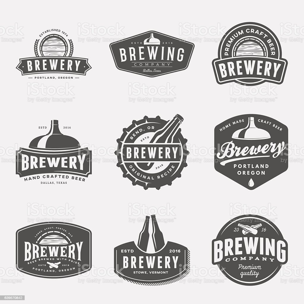 set of brewery labels, badges and design elements vector art illustration