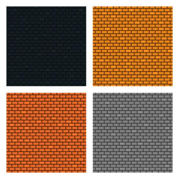 Set of Brick Walls Background. Four Textures. Orange, Yellow, Grey, Black Colors. Vector illustration for Your Design. vector art illustration