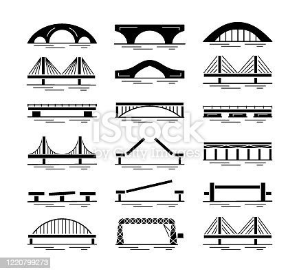 Set of bridge black silhouette icons isolated on white background. Different types of bridges. Various constructions of bridges. Vector illustration.