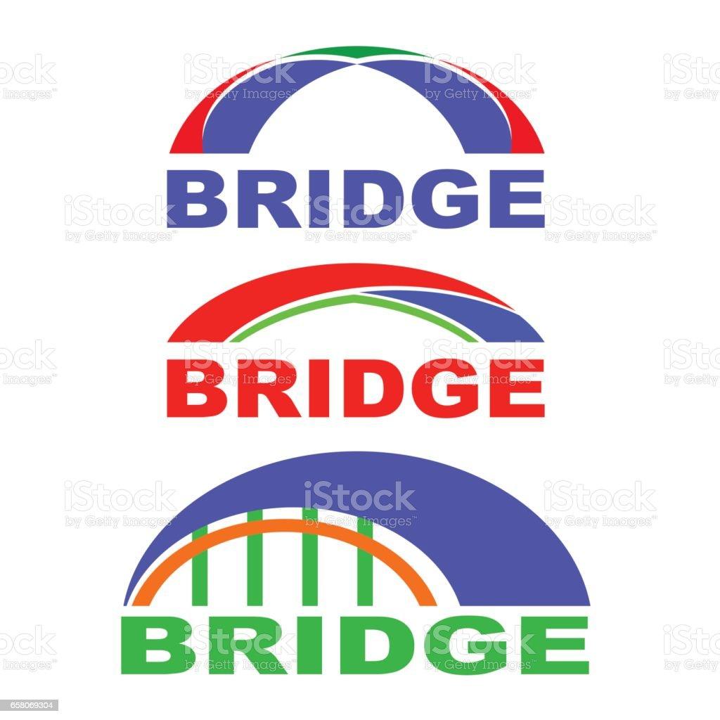Set of Bridge Icons Isolated. Bridge Logo vector art illustration