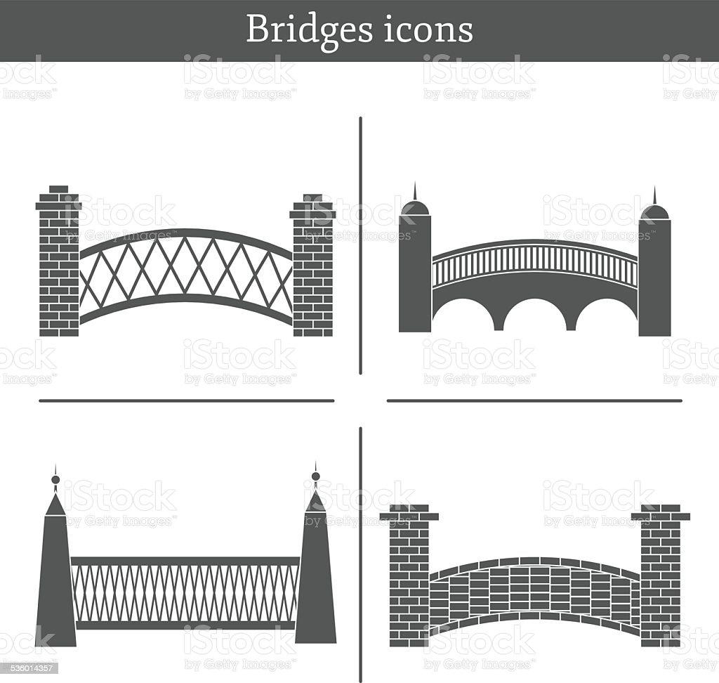 Set of bridge icons vector art illustration
