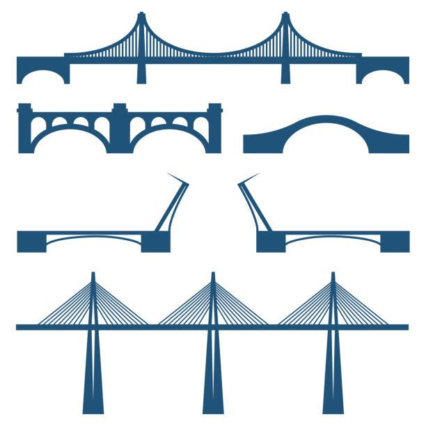 Aantal bruggen roerende, cabble manier metalen en stenen brugvectorkunst illustratie