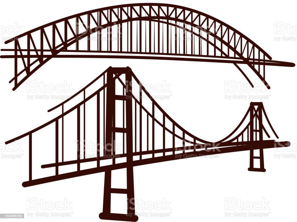 set of bridges royalty-free stock vector art