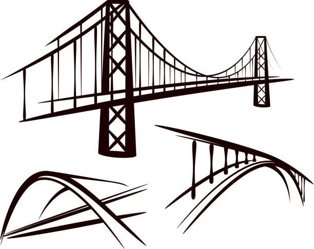zestaw mostów - bridge stock illustrations