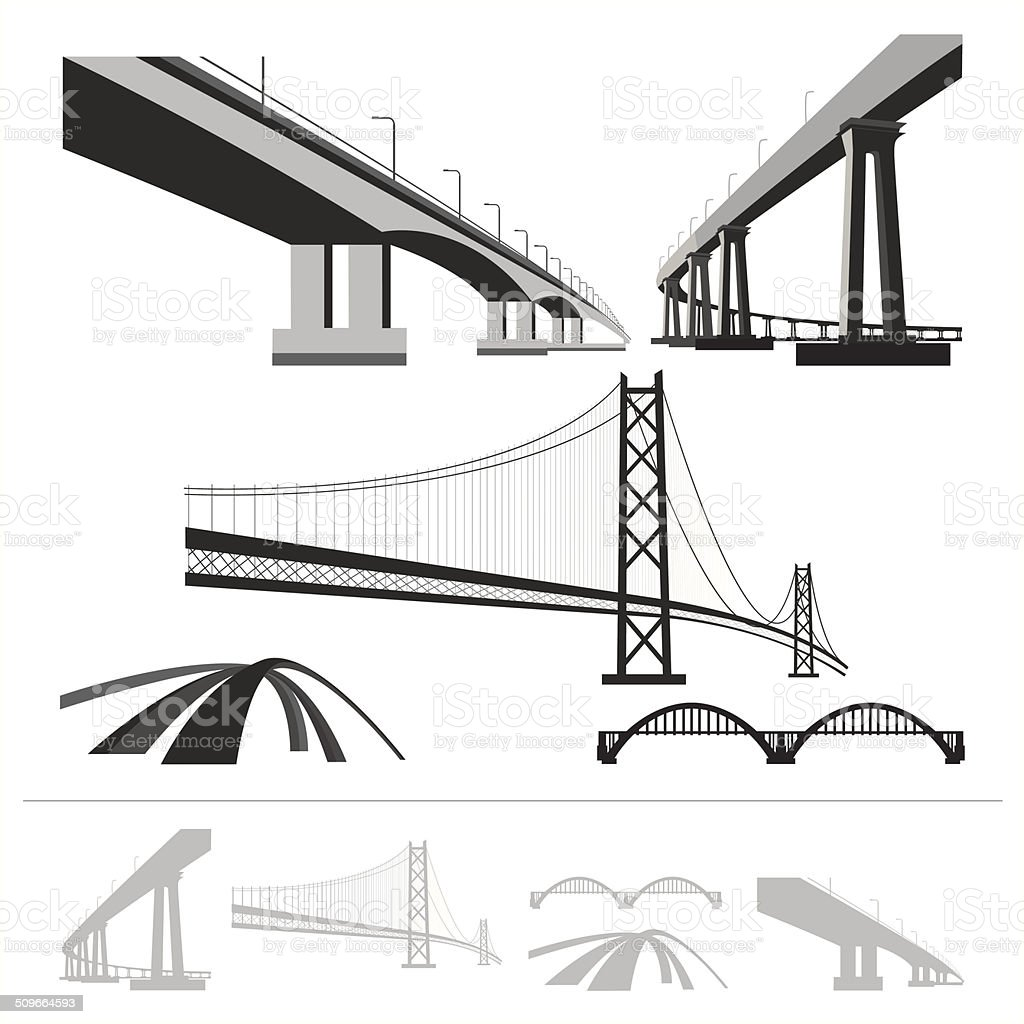 set of bridges, vector silhouette collection isolated on white background vector art illustration