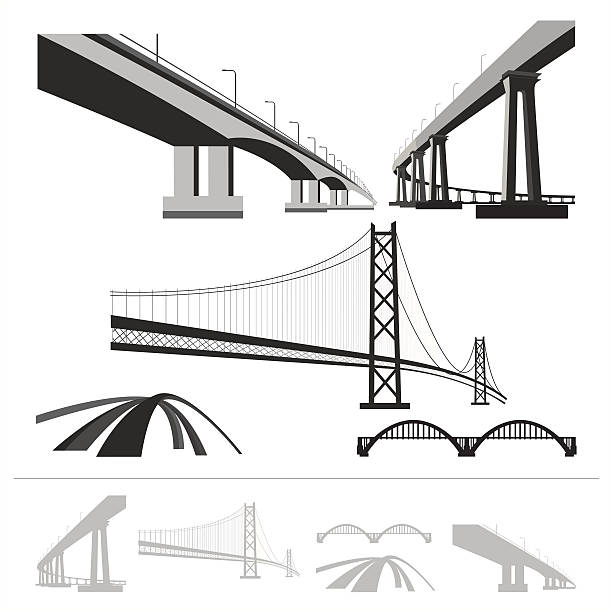 set of bridges, vector silhouette collection isolated on white background - bridge 幅插畫檔、美工圖案、卡通及圖標