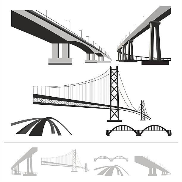 세트마다 해티버그, 벡터 실루엣 컬레션 흰색 바탕에 흰색 배경 - bridge stock illustrations