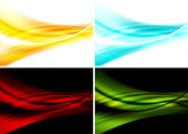 Set of bright abstract waves backgrounds. Vector illustration