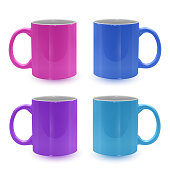 Set of bright and colored mugs on white background, realistic mugs, template for your project. Vector illustration