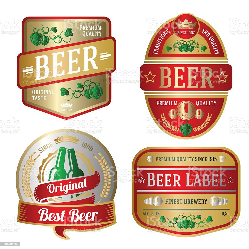 Set of bright beer labels, different shapes. Vector vector art illustration