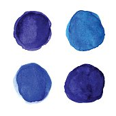 Set of bright blue watercolor spots for your design. Vector illustration