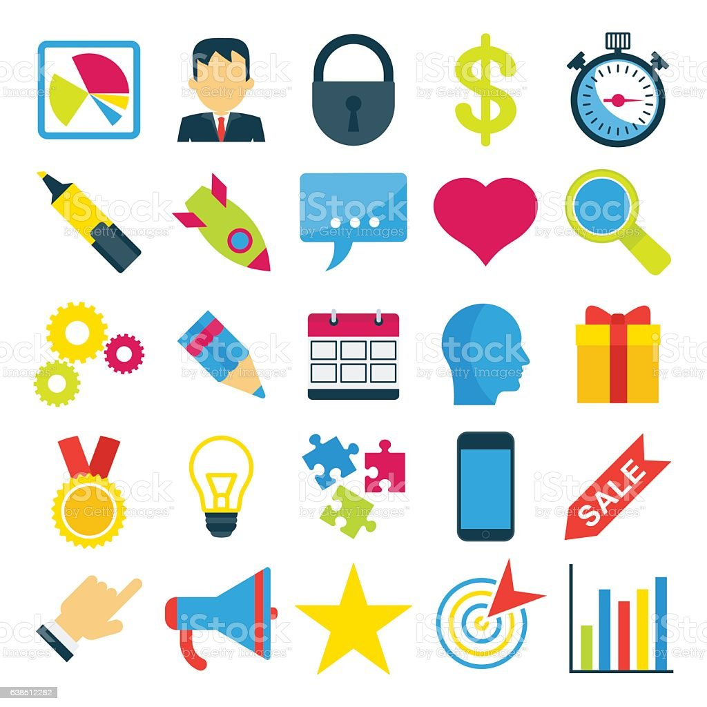 set of bright business icons vector art illustration