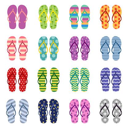 Set of bright colored flip flops, vector illustration