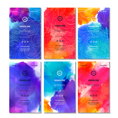 Set of Bright Colorful Cards
