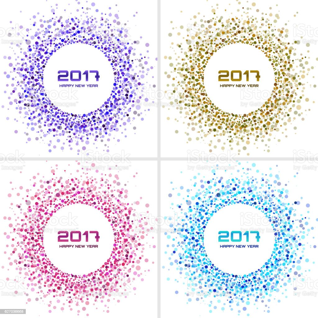 Set of Bright Colorful New Year 2017 circle frames Backgrounds. vector art illustration