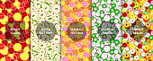 Set of bright colorful seamless fruits patterns - summer season design. Vibrant creative backgrounds, endless textures.
