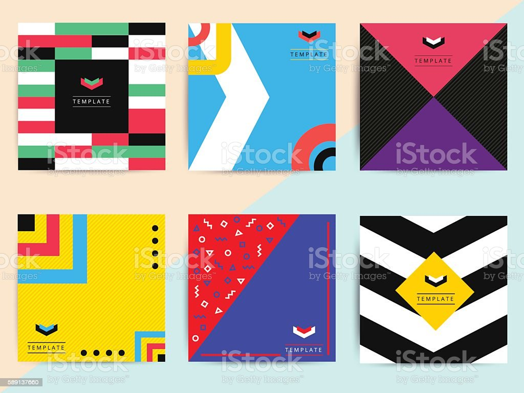 Set of bright colorful trendy background covers design. vector art illustration
