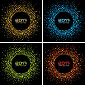 Set of Bright confetti circles Colorful New Year 2017 circle frame Backgrounds.