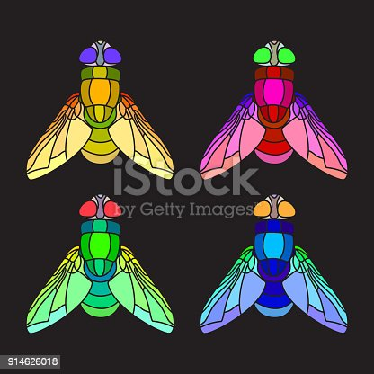 Mosaic flies. Colorful flies, green, orange, red and blue. Dark background, stained-glass