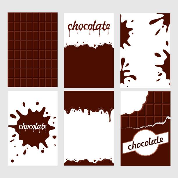 밝은 음식 카드의 세트입니다. 초콜릿과 초 코의 유약. 완벽 한 패턴, 배경, 카드, 포스터입니다. - 초콜릿 stock illustrations