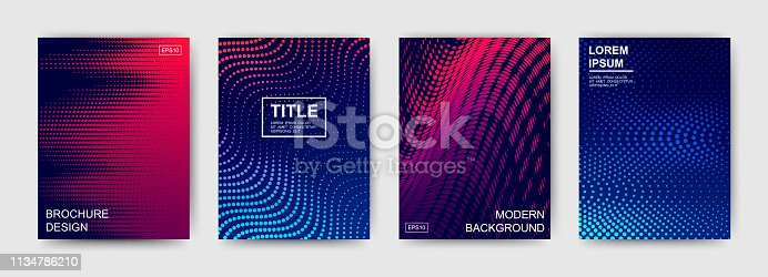 Set of bright gradient patterns with rotating effect. Dynamic design with abstract waves for postcards, posters, brochures and flyers