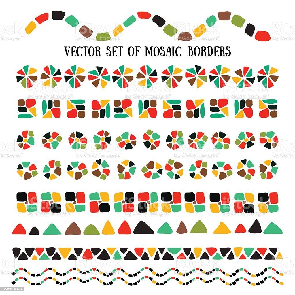 Set of bright Mosaic borders. vector art illustration