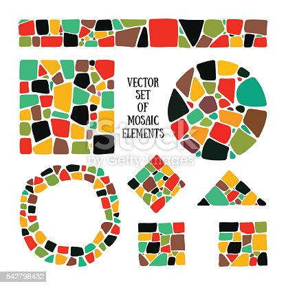istock Set of bright Mosaic design elements in different forms. 542798432