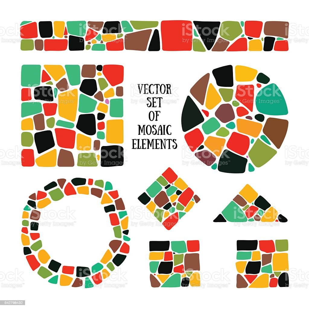 Set of bright Mosaic design elements in different forms. vector art illustration