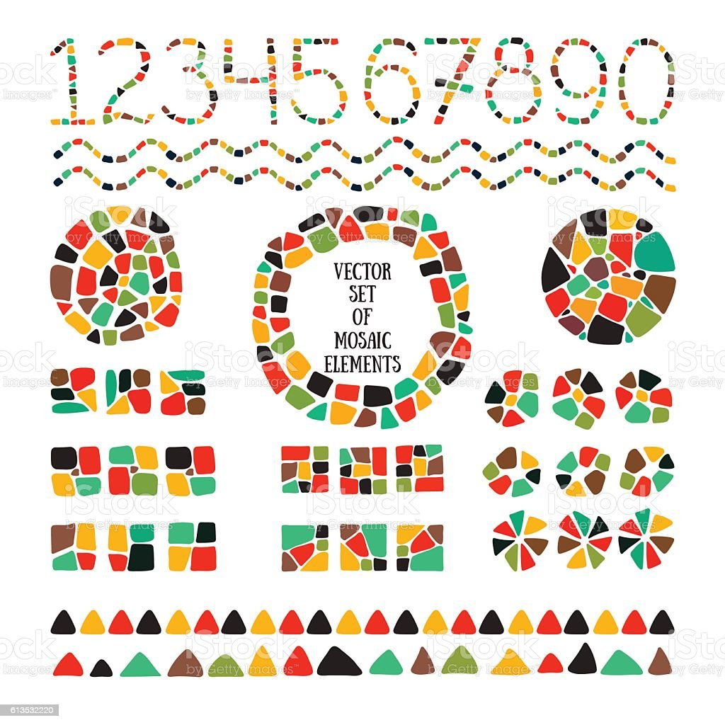Set of bright Mosaic design elements. vector art illustration
