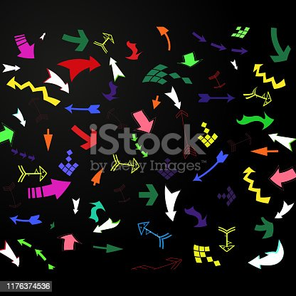 Set of bright multicolored arrows, seamless background. Flat design.
